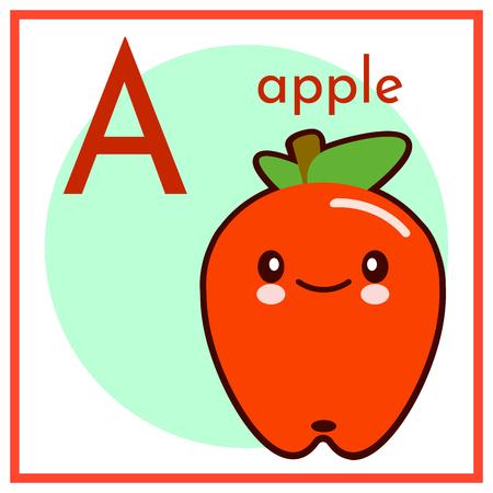 Cartoon fruit alphabet flashcard. A is for apple flat vector illustration.