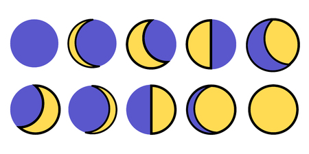 The phases of the moon. The whole cycle from new moon to full. Vector illustration EPS Flat