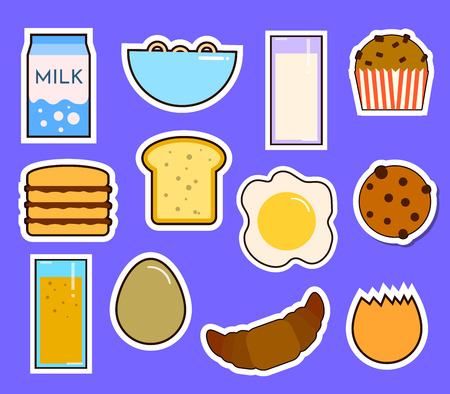 Breakfast fresh food and drinks flat icons set with coffee donut fruit juice tea cup isolated illustration Stock Illustration - 98483414