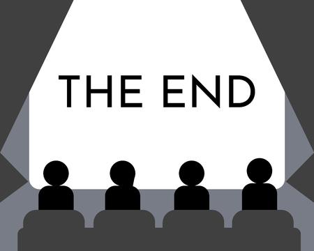 Ludzie oglądają film w sali kinowej. Filmowy ekran zakończenia, pokazu lub koncertu. Ilustracji wektorowych. EPS