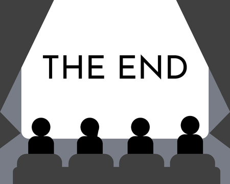 Leute, die Filme im Kinosaal schauen. Filmleinwand das Ende, Show oder Konzert. Vektorillustration. EPS