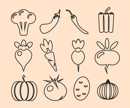 Vegetables thin line icon set isolated black color vector illustration. Ilustracja