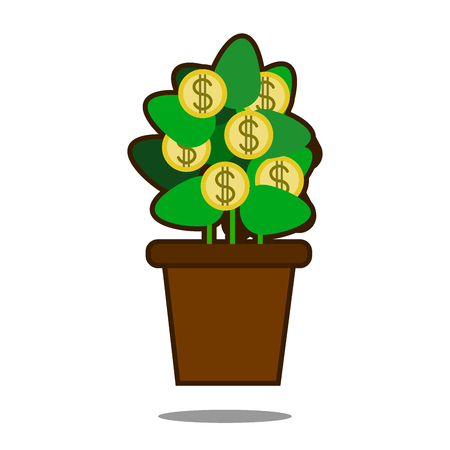 Money tree with golden coins vector illustration Illustration