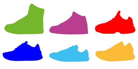 Sneaker Shoe Colors Minimalistic Flat Icon Pictogram Symbol Set Collection Flat design Vector Illustration EPS