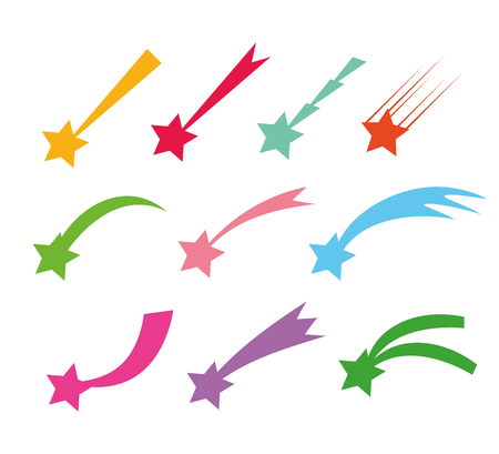 Shooting stars icons. Vector falling star silhouettes or comets isolated on white background. Color star with tail illustration