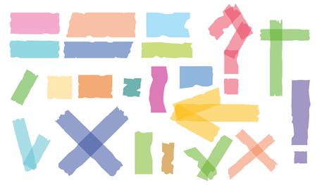 Set accepteren of ja, kruis en plakband van verschillende grootte stukken op witte achtergrond