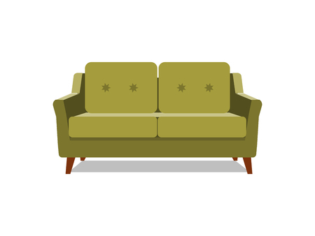 Vector realistic green sofa with on background. Object of interior, expensive and exclusive furniture for vip person cartoon illustration vector. EPS Illustration