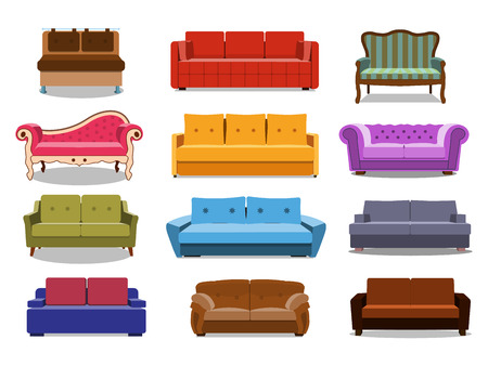 Sofa and couches colorful cartoon illustration vector set. Collection of comfortable lounge for interior design isolated on white background. Different models of settee icons. Stock Photo