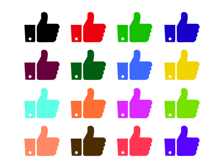 Thumbs up like icons color set for social network web app like. Symbol hand with thumb up. Vector illustration EPS