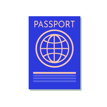 Blue passport isolated on white. International identification document for travel. Vector image about identification, travel, check-in, tourism, passport control, vacation, citizenship, trip, etc