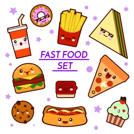 Set of funny fast food characters - pizza, French fries, burger, hot dog, sandwich ,cartoon illustration on white background. Funny fast food characters 版權商用圖片
