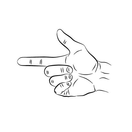 Hand making the gun sign,  illustration design. Hands collection.