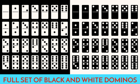 Domino White and black Color Set . Full Classic Game Dominoes bones Isolated On White. Modern Collection Illustration Flat design style.