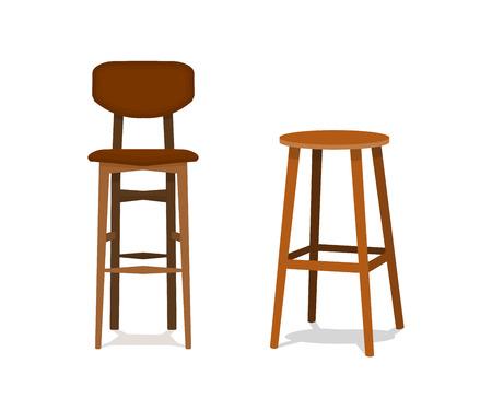 Vector dos taburetes de bar de madera ocre, marrón con asientos de cuero vista frontal aislado sobre fondo blanco EPS