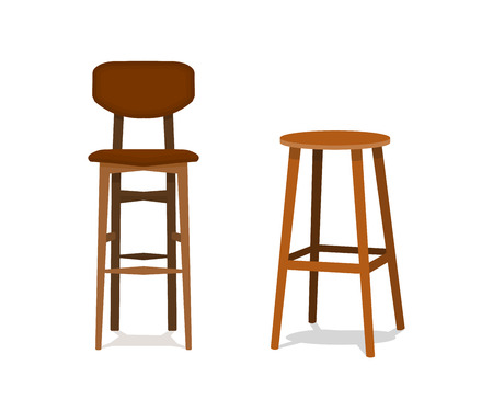 Vector two ocher, brown wooden bar stools with leather seats front view isolated on white background EPS