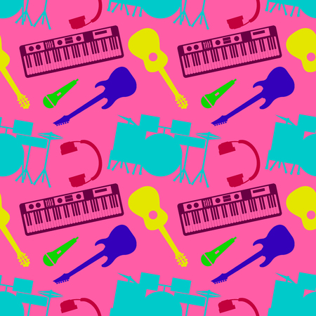 Musical colors silhouettes of musical instruments seamless pattern of orchestra harp vector illustration. EPS