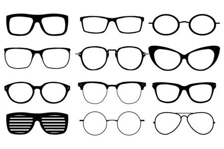 Zestaw okularów na białym tle. Wektorowe ikony modelu okularów. Ilustracje wektorowe