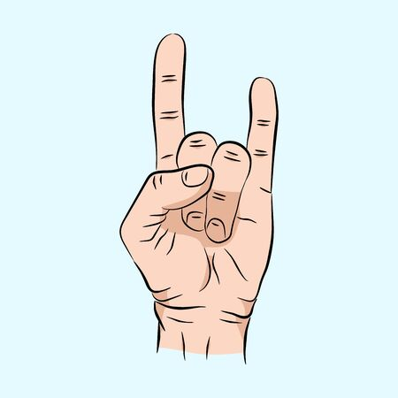 sketch of hand sign rock n roll music, illustration isolated on a blue background. Hand sign for web, poster, info graphic Imagens