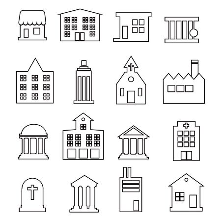Set of real estate and homes thin line icons. Contains icons as area, hand holding key, smart home, contact and support, apartments and more. Editable stroke. EPS  イラスト・ベクター素材