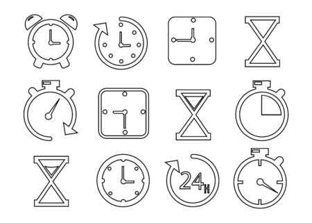 Simple Set of Time Related Vector Line Icons. Contains such Icons as Timer, Speed, Alarm, Restore, Time Management, Calendar and more. Editable Stroke. EPS