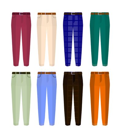 Set of classic trousers for men different color. Flat design