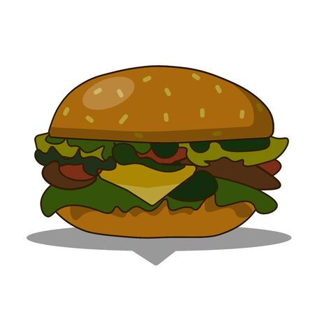 Burger with cheese, meat, salad isolated on white background.Tasty hamburger. Fast food. flat  illustration.
