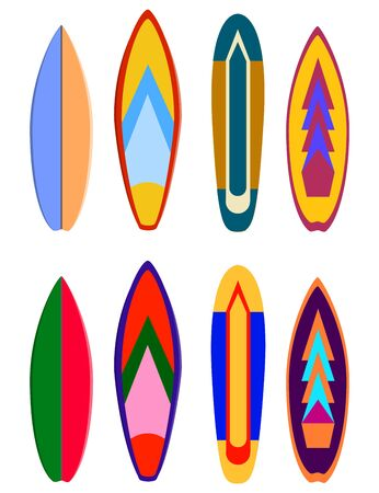 Surf boards designs.  surfboard coloring set. Realistic surfboard for extreme swimming, illustration set of surf board with color pattern
