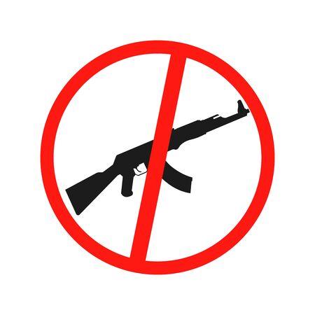 Prohibiting sign for gun. No gun sign.  illustration