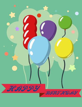Happy Birthday  design greeting cards with balloon, confetti , design template for birthday celebration.
