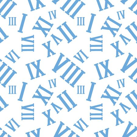 Seamless background pattern with Roman numerals on a white.  Illustration
