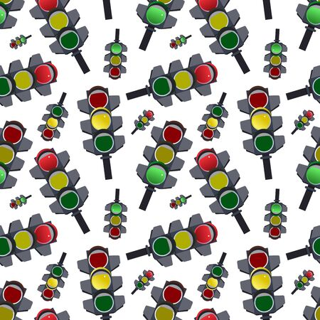 seamless abstract pattern. Traffic lights on white background illustration Stock Photo
