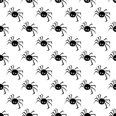 Halloween pattern with spiders on a white.  Illustration