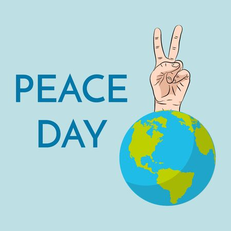 Peace Day, concept. September 21 International Day of Peace. Gesture of the hands, two fingers, symbol.  illustration flat design. Isolated hand on white background.