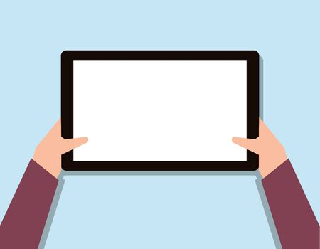 blank tablet hand toches screen, flat design isolated on blue background  illustration