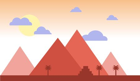 Egypt pyramids with palms in desert flat design. Travel concept famous Sunset  Illustration. Africa