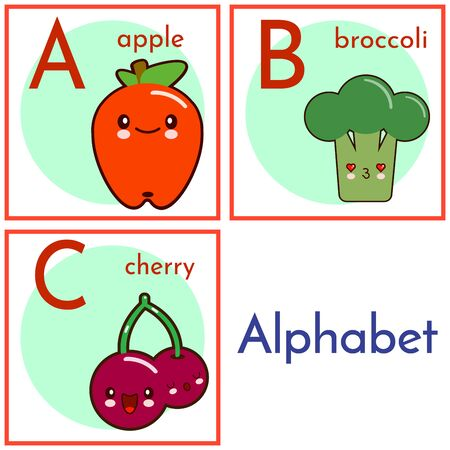 An alphabet with food characters, letters A to C. Cartoon  alphabet isolated on a white background. illustration