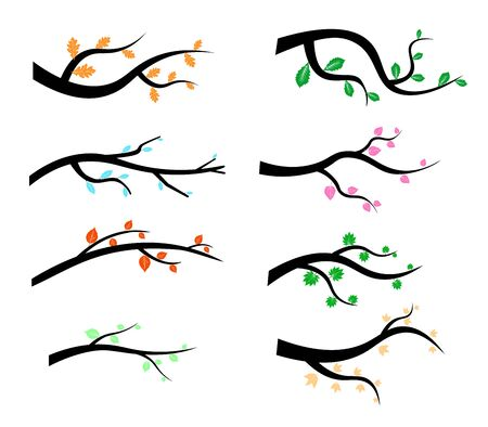 Collection of Tree Branch Silhouettes icon in flat style isolated on white background.  illustration Stockfoto