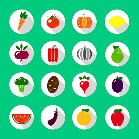 Colorful flat fruits and vegetables icons set. Template for cooking, restaurant menu and vegetarian food vector illustration EPS Illustration