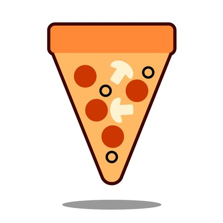 Pizza slice with melted cheese and pepperoni. Cartoon sticker in comic style with contour. Decoration for greeting cards, posters, patches, prints for clothes, emblems illustration.