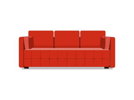 Sofa and couch red colorful cartoon illustration . Comfortable lounge for interior design isolated on white background. Modern model of settee icon. Stock Photo