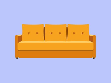 Sofa and couch yellow colorful cartoon illustration . Comfortable lounge for interior design isolated on blue background. Modern settee icon.