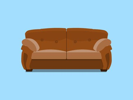 Brown leather chester sofa. illustration. Comfortable lounge for interior design isolated on blue background. Modern model of settee icon. Stock Photo