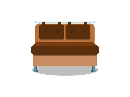 Comfortable kitchen sofa on white background. Isolated couch lounge in interior. Flat cartoon style illustration.