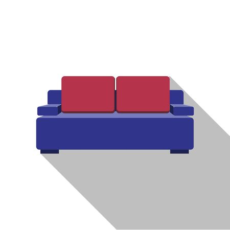 Sofa icon. . Flat design with long shadow. Purple couch isolated on background. Furniture for living room.
