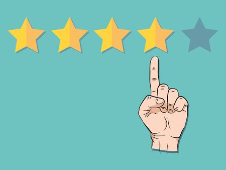 Hand pointing at one of five stars. Rating, evaluation, success, feedback, review, quality and management concept. illustration