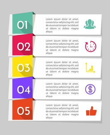 Infographics design vector and marketing icons can be used for workflow layout, diagram, annual report, web design. Business concept with 5 options, steps or processes. EPS