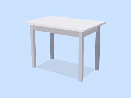 Empty white plastic table isolated on blue background. For product display template. 3d table for object presentation illustration