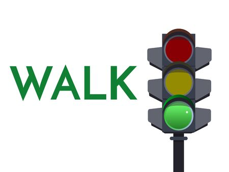 Traffic light green signals. Walk Go Flat illustration. Safety infographic. image of semaphore with text on white background. Stock Photo