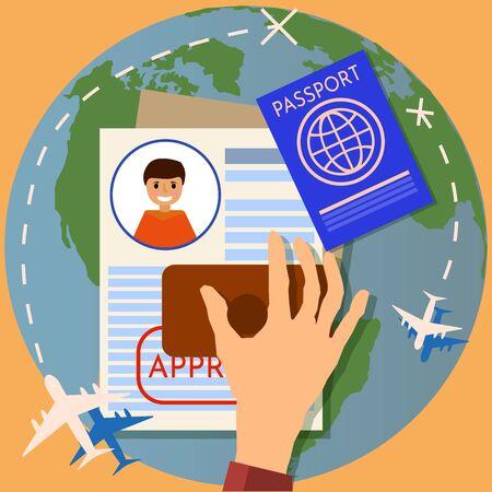 Visa stamping. Passport or visa application. Travel immigration stamp, illustration