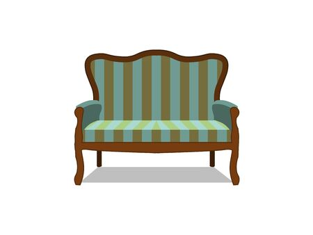 classic sofa icon front view isolated. Luxury furniture design flat retro style antique apartment classical color comfort, couch, decor, fashion.